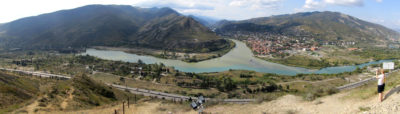 Panorama de Mtskheta et du confluent de la Koura et de l'Aragvi.