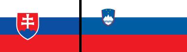 Drapeaux de la Slovaquie et de la Slovénie